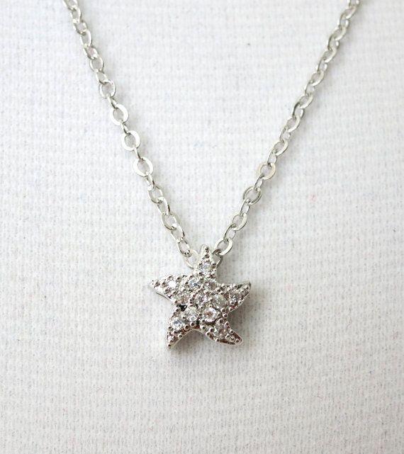 Star - Cubic Zirconia Starfish necklace, gifts for her, sparkling star, beach wedding party, bridesmaid necklace, www.glitzandlove.com, by GlitzAndLove
