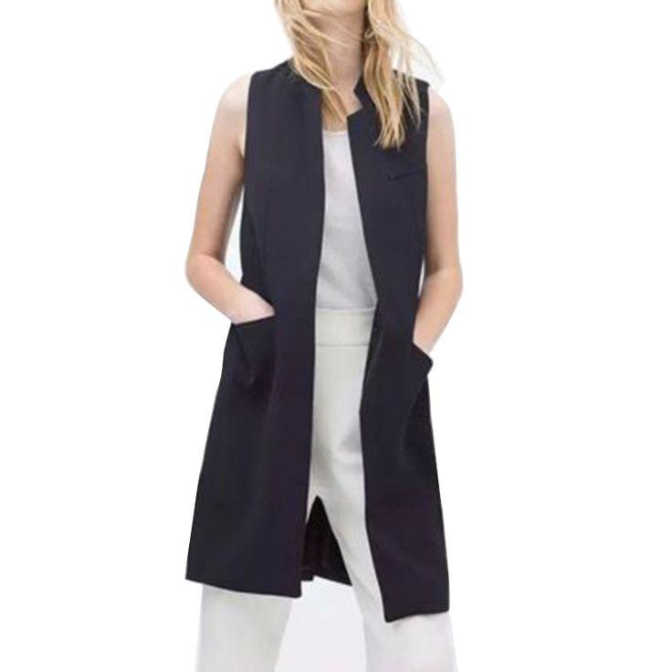 Купить товар2016 новое поступление мода женщины дамы свободного покроя без рукавов нагрудные жилета пальто костюм жилет женский кардиган черный белый синий в категории Жилетына AliExpress.        Описание:               100% новый и высокое качество         Удобно носить         Мода корейский стиль       Бе