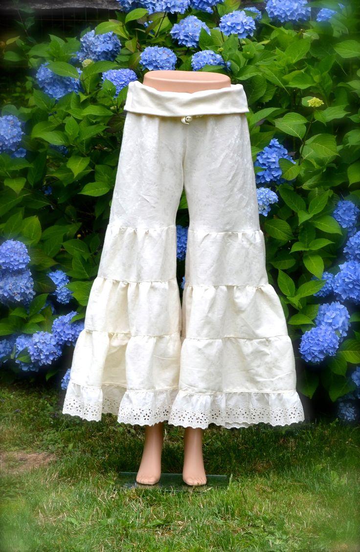 Women's Super Bloomers Wide Leg Palazzo Pants Hemp Silk Jacquard Luxurious & Sustainable w Organic Cotton Knit Waist Band Custom For You. $119.00, via Etsy.