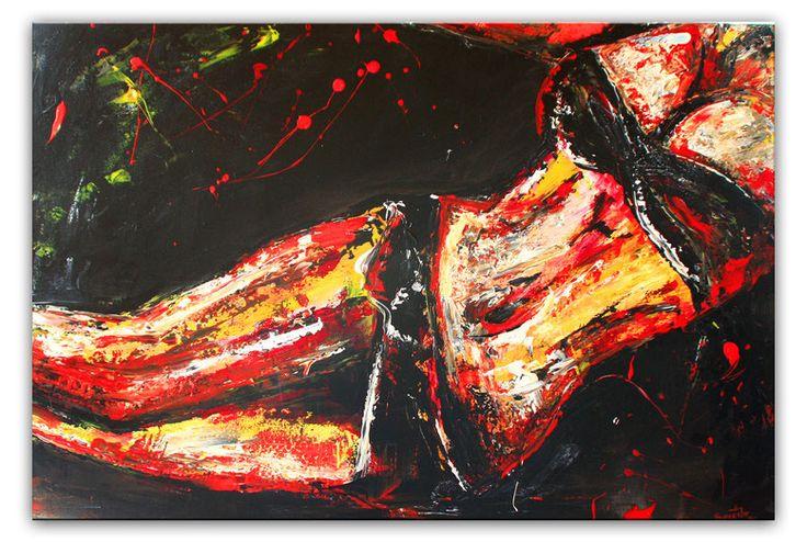 Erotische Malerei Frau - Rotes Akt Gemälde - Erotik Bild