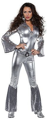 UNDERWRAPS FOXY LACE FRONT SILVER JUMPSUIT ADULT HALLOWEEN COSTUME SIZE X-SMALL