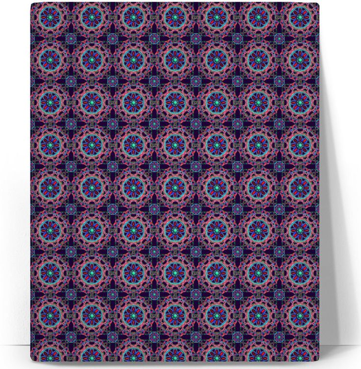 Crossed Floral Lace in Pink and Blue on Purple Printed Canvas by Terrella