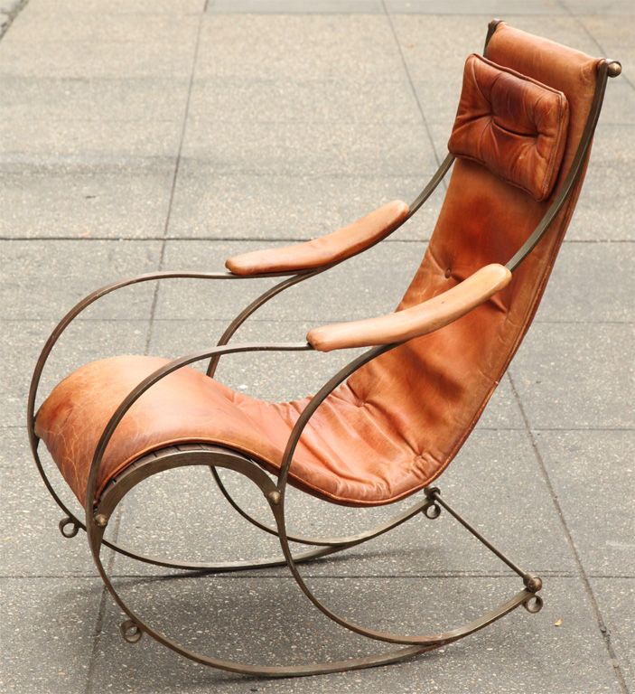 View This Item And Discover Similar Rocking Chairs For Sale At Century Steel Leather And Brass Rocking Chair By R Winfield Of Birmingham