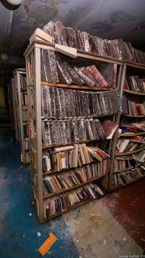 Abandoned Library. I would love love love to see what books are in there!!!