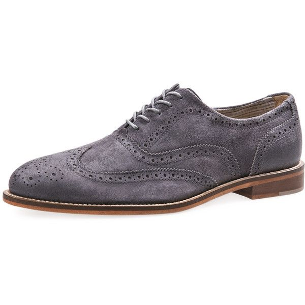 J Shoes Men's Charlie Suede Oxford - Grey - Size 10 ($79) ❤ liked on Polyvore featuring men's fashion, men's shoes, men's oxfords, men, grey, mens grey shoes, mens gray dress shoes, mens wing tip shoes, mens suede shoes and mens brogues