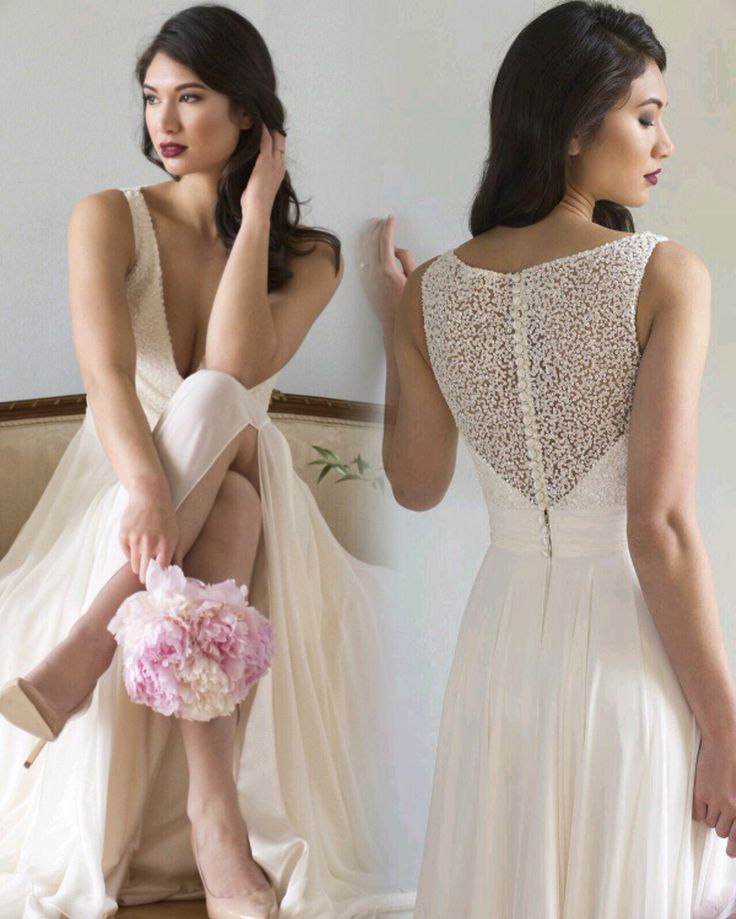 Augusta Jones 2017 Yasmin with luxe crepe and detailed pearl back. Available at www.theweddingdresscompany.co.uk