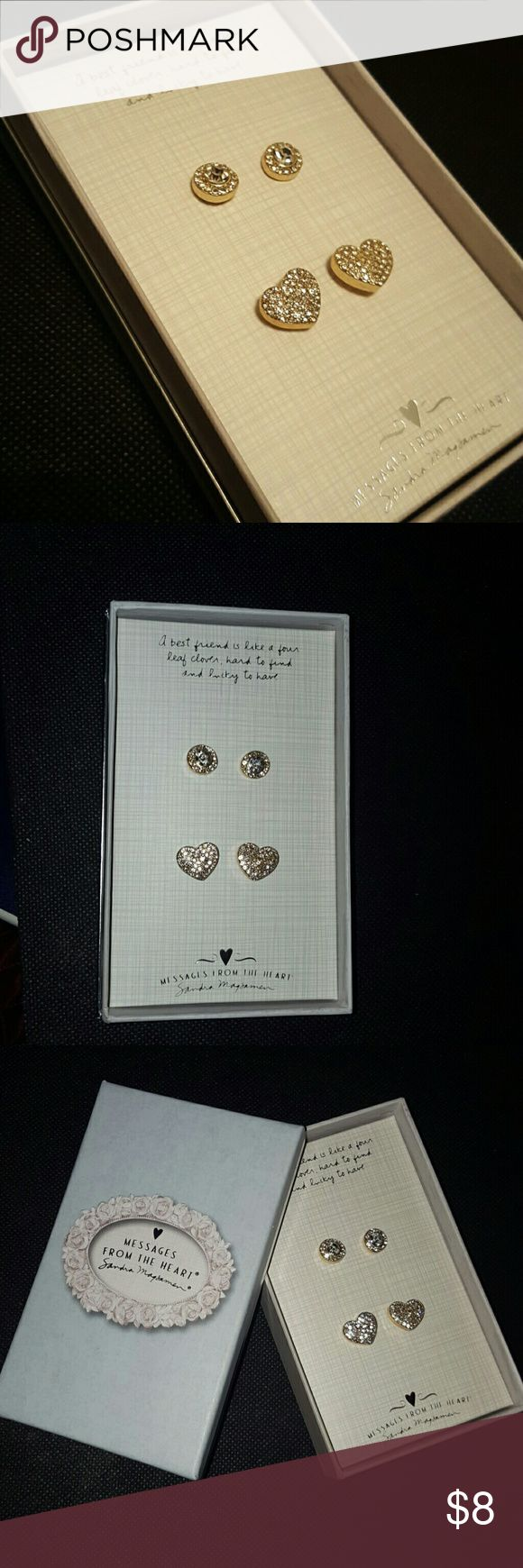 New in box! Awesome gift for your best friend! Messages from the heart by Sandra Magsamen, 2 sets of earrings, round and heart shaped, goldtone w/ faux diamond accents, perfect unworn condition! Sandra Magsamen  Jewelry Earrings