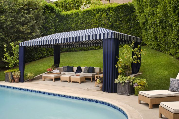 gazebo canopy pool transitional with cabana grass hedge lawn outdoor cushions patio - Transitional Canopy Decorating