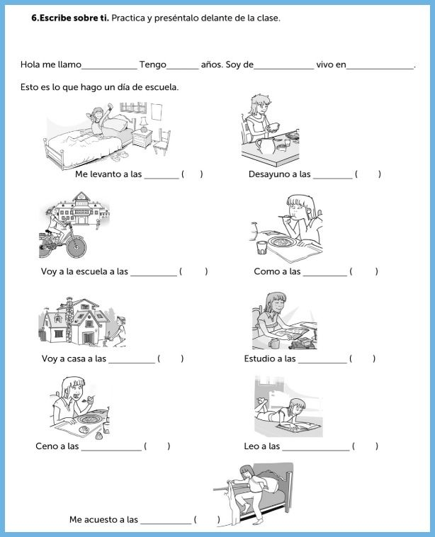 Spanish worksheets can provide structure for presenting information to the class.