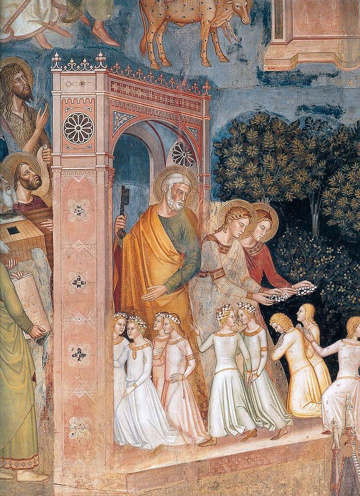 Andrea di Bonaiuto. Santa Maria Novella 1366-7 fresco 0013 - Андреа Бонайути — Википедия. Триумф церкви, деталь: св. Пётр у врат Рая.