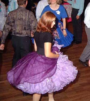 Love her sheer skirt on top of the petticoat! Square Dance