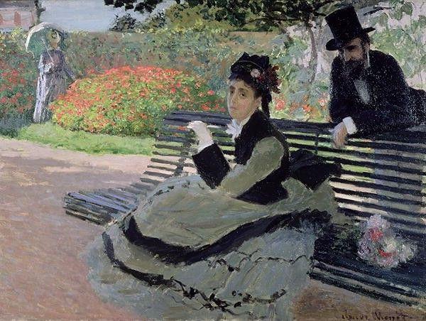 Madame Monet sur un banc de jardin