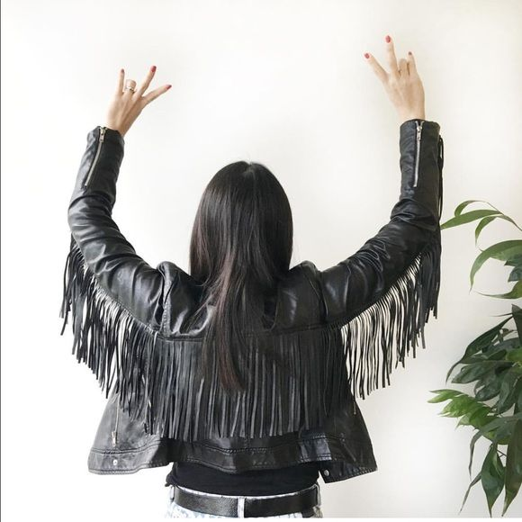 """Fringe Vegan Leather Jacket ❤️ Nail the edgy boho look with this stunning black faux leather jacket w/ fringe from Style Mafia - one of my favorite emerging designers based out of Miami.  So on trend - style with a white tee, skinny boyfriend jeans, and heels.  Brand new with tags!  MSRP $110.  Shoulder to shoulder - 15.5-16"""".  Arm width - 5.75"""" (measured one inch away from bottom of armpit sleeve and up). Style Mafia Jackets & Coats"""