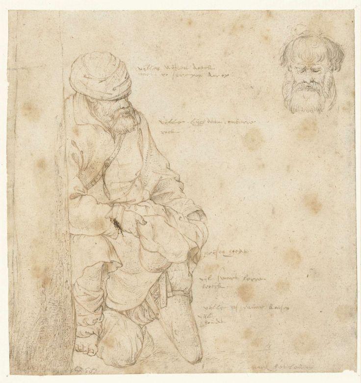 Zittende bedelaar en een studie van zijn hoofd, Roelant Savery, 1603 - 1613
