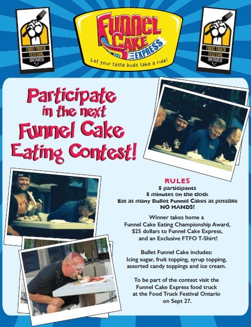Funnel Cake Eating Competition going down at the Food Truck Fest this year on Sept 27  Make sure to visit the Funnel Cake Express Food Truck at the event to learn how you can become a participant