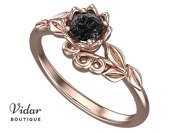 Flower Engagement Ring,Unique Engagement Ring,diamond Engagement Ring,Leaves,Blck Diamond Engagement Ring,floral,swirl,Rose gold Ring