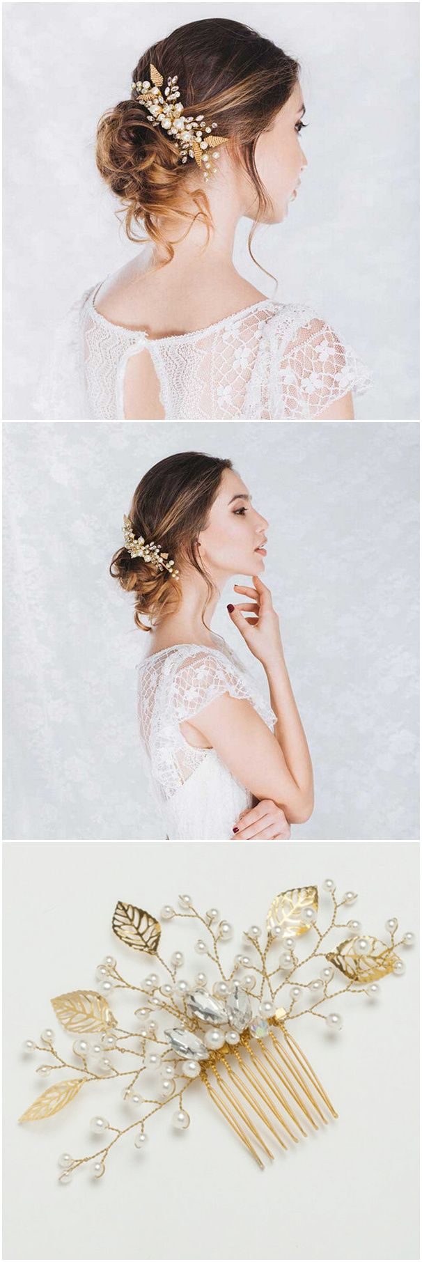 gold leaves pearl and rhinestone bridal comb headpieces for long wedding hairstyles