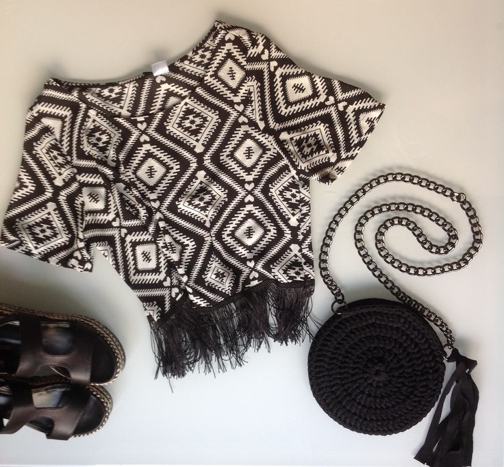Summer outfit / handmade round crochet bag / black