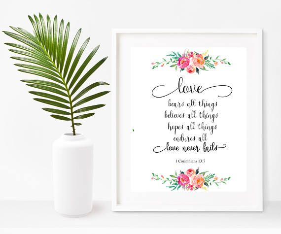 Buy Prints On Etsy $8.25 Wedding Gift Love Bears All Things Love Never Fails  Bible