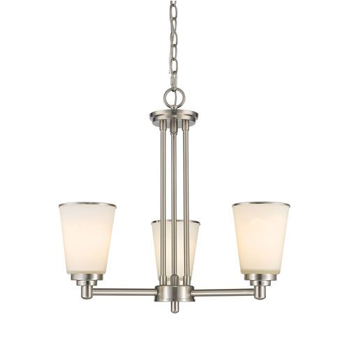 Jarra Brushed Nickel Three-Light Chandelier with White Glass