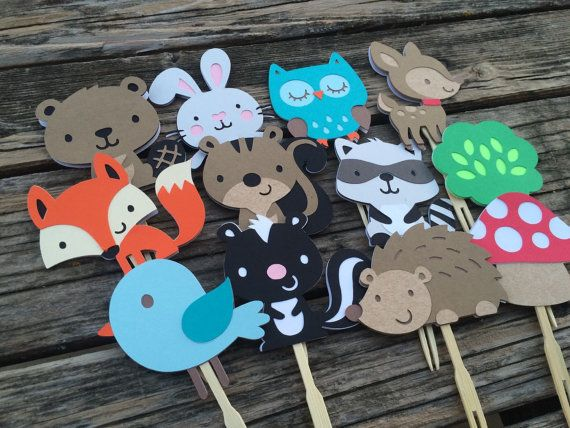 Woodland Party Cupcake Toppers Baby Shower by BlueOakCreations