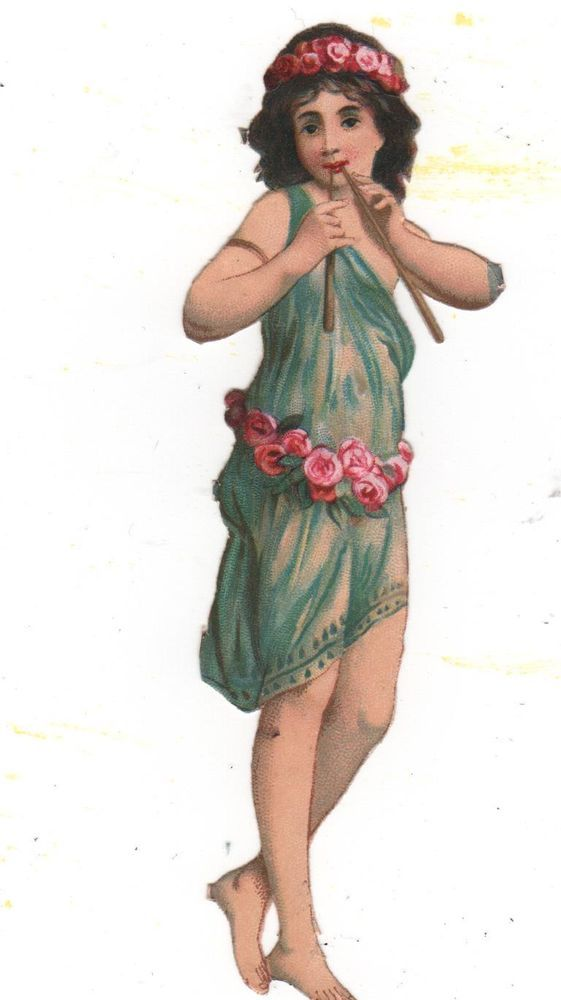 Victorian Die Cut Scrap Girl fawn playing flutes