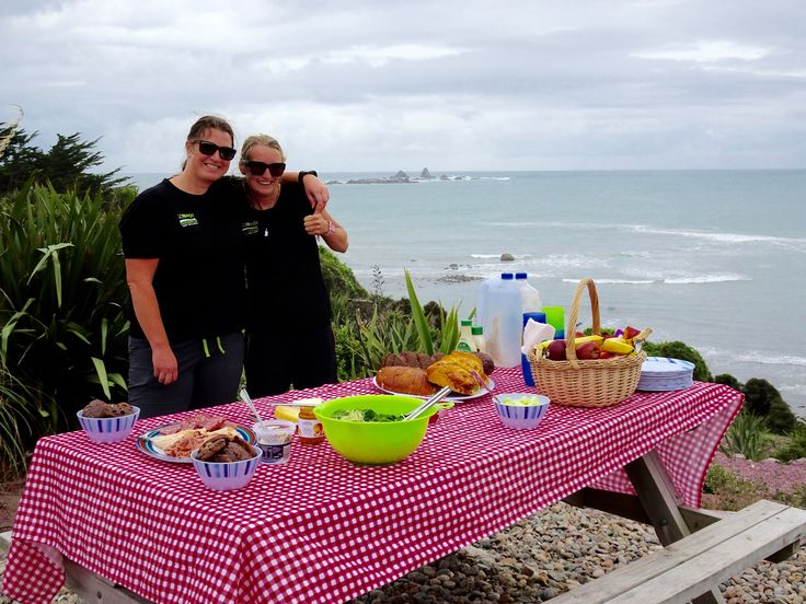 Michelle and Alex host a picnic lunch at Cape Foulwind on the wild West Coast.