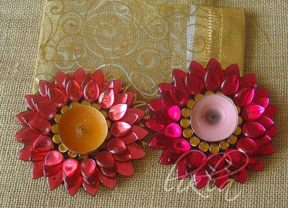 Lotus Tealight Candle Holder -Floating Lotus Diya -Coral and Hot Pink (Set of 2)