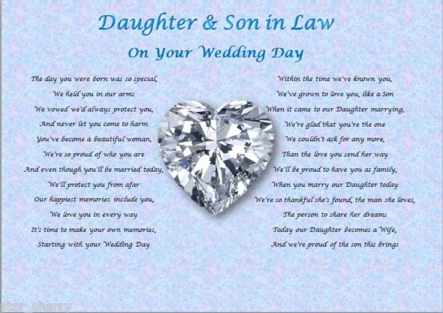 DAUGHTER Amp SON IN LAW Wedding Day Poem Gift