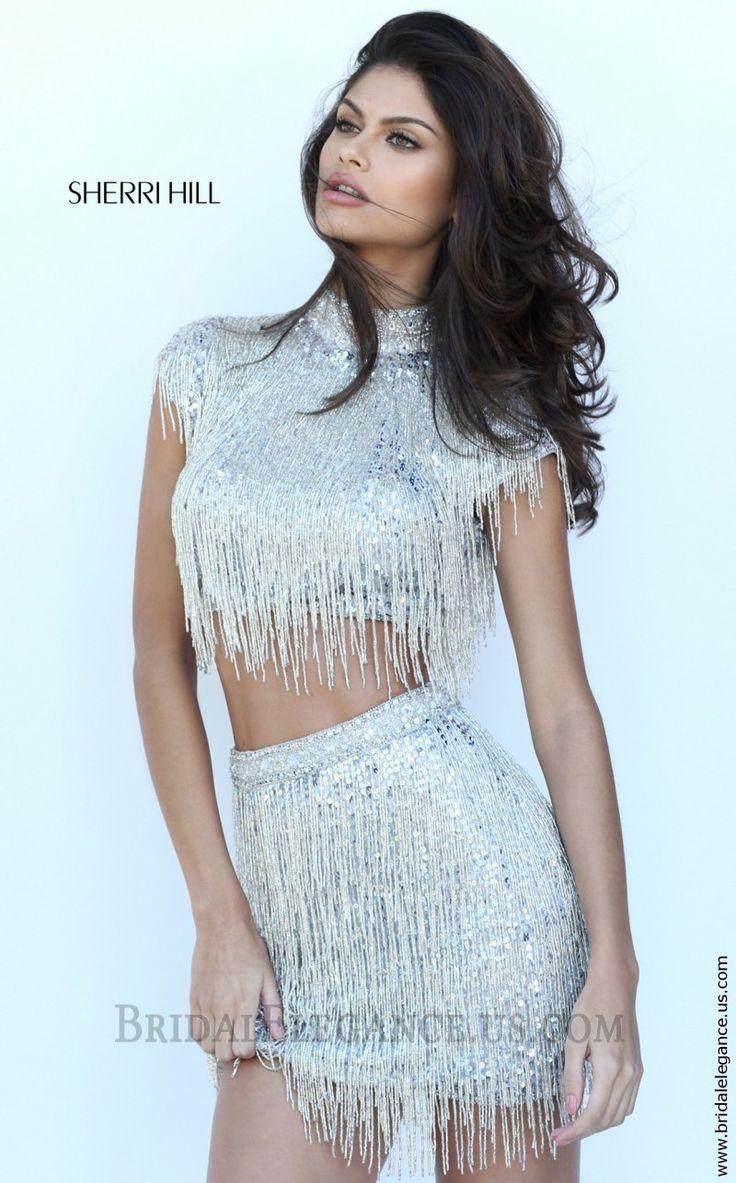 Sherri Hill 50564 | Silver Sequin Fringe Two Piece Dress | Bridal Elegance