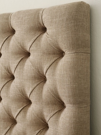 diamond tufted headboard, in grey, for the new bed.