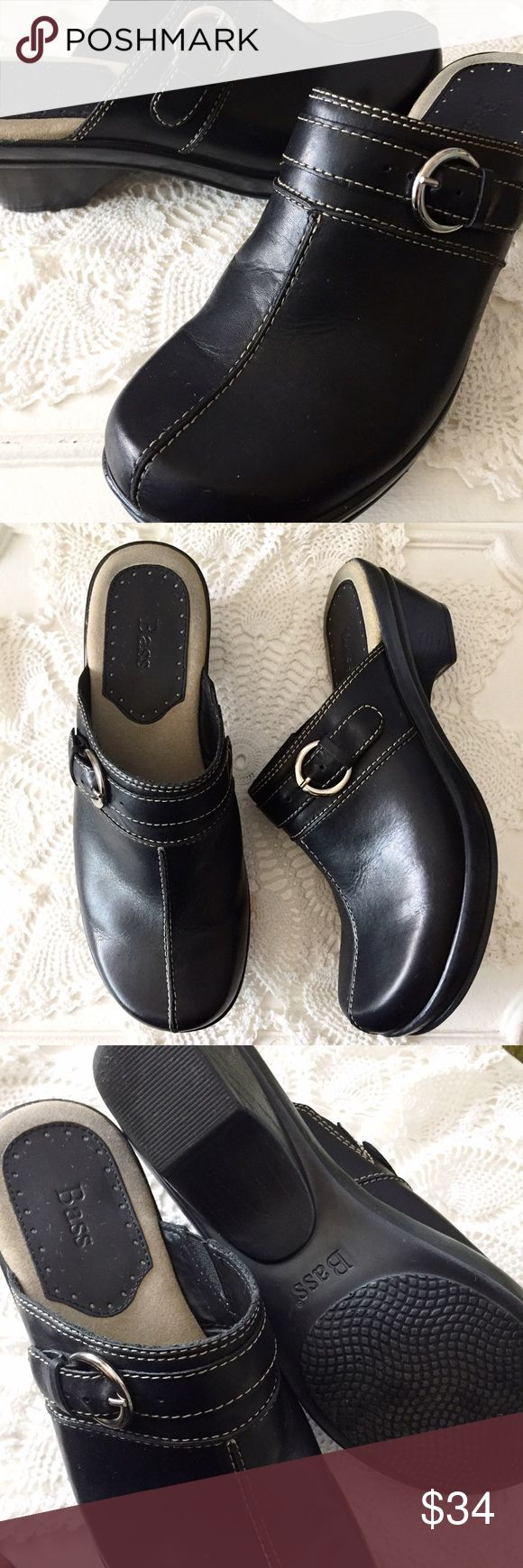 Bass Black Leona Leather Mules Clogs Size 9M Lightly worn Bass black mules/clogs with side buckle. In excellent condition. Size 9M. Bass Shoes Mules & Clogs