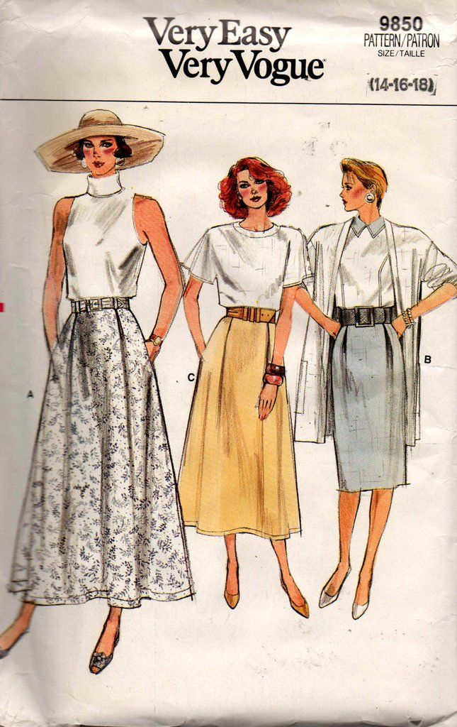 Vogue 9850 Womens Inverted Pleat Skirts 80s Vintage Sewing Pattern Size 14 16 18 UNCUT Factory Folded