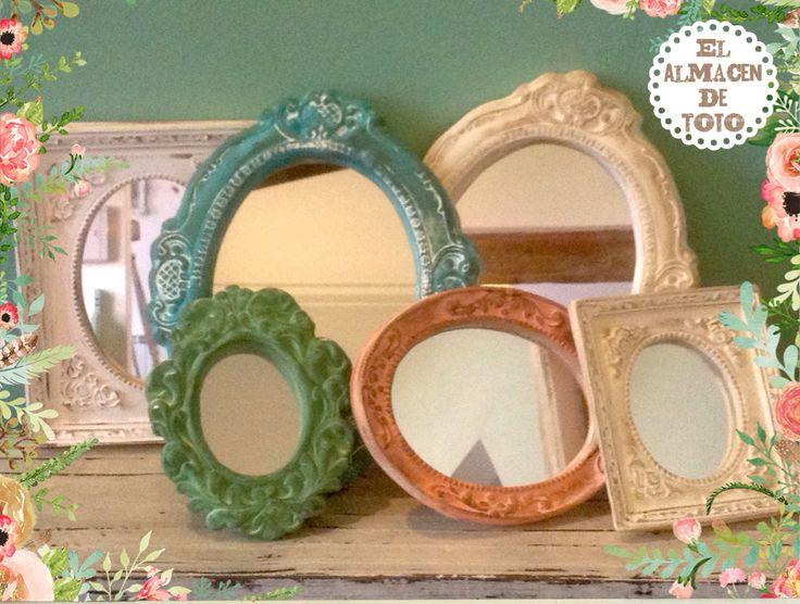marcos y espejos de yeso patinados by el almacen de toto