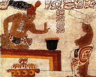 A lord tests the heat of his chocolate in this painting on a Late Classic Maya vase  from Petén; note tamales (Maize cakes), covered with chocolate-chile sauce below him.