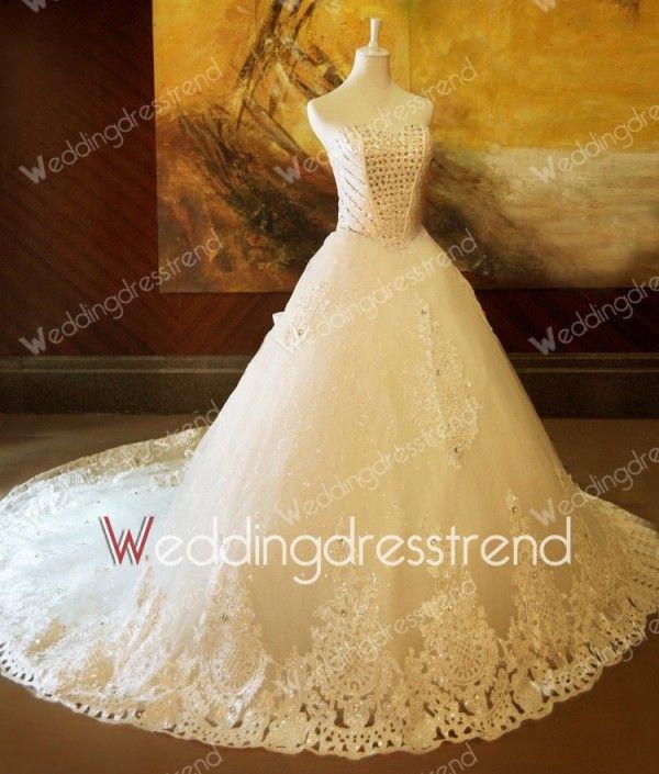 Amazing Princess Sweetheart Crystal Wedding Dress with Bows