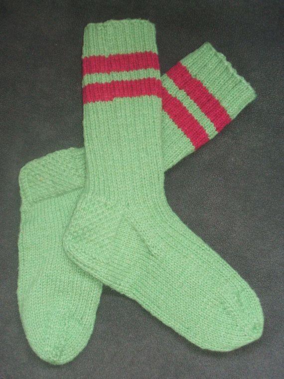 Hand Knit Wool Socks  Fern Green  Medium by soxylady on Etsy