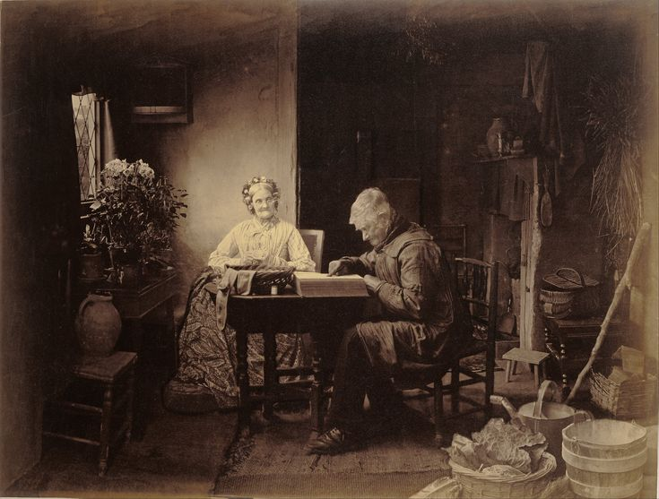 """1877 image from British photographer, Henry Peach Robinson titled, """"When the Day's Work is Done""""."""