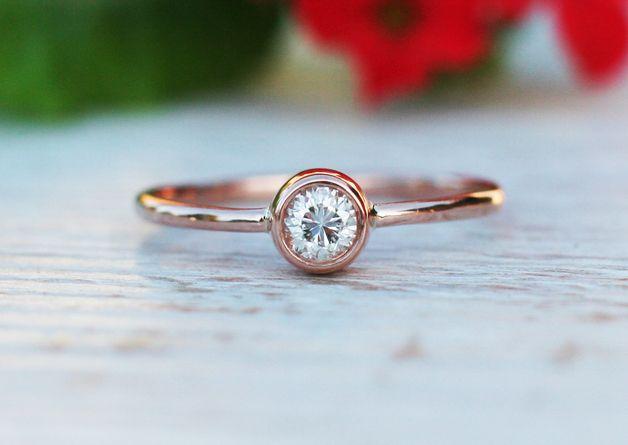 Verlobungsringe - 0Solitaire Diamant-Verlobungsring in 18K Rose - ein Designerstück von arpelc bei DaWanda