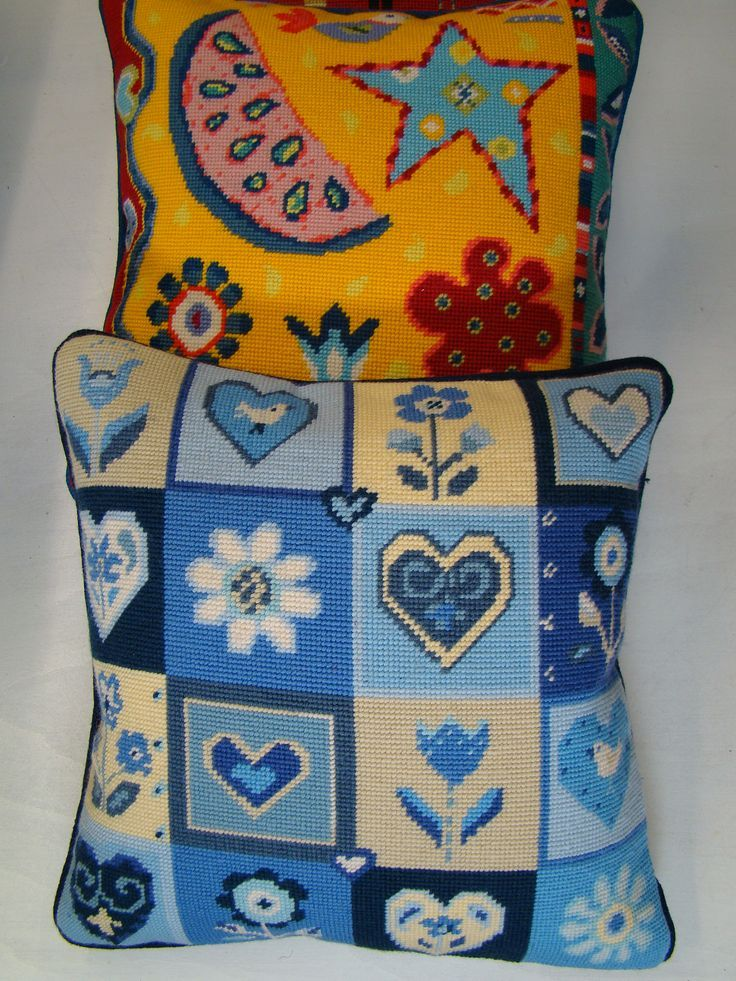 Hearts and Flowers and Carnival tapestry cushions.