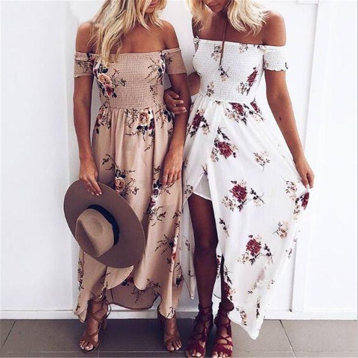 Off Shoulder Flower Print Slit Maxi Dress