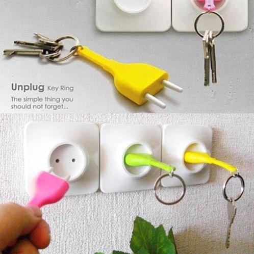 unplug Key Ring van Qualy Design - een handige sleutelhanger- en -houder combi, nooit meer je sleutels kwijt!