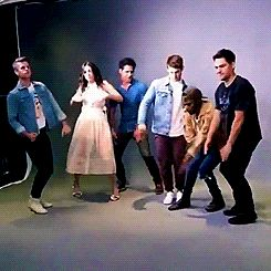 The cast of Teen Wolf dance around at San Diego Comic Con, 2017. gif