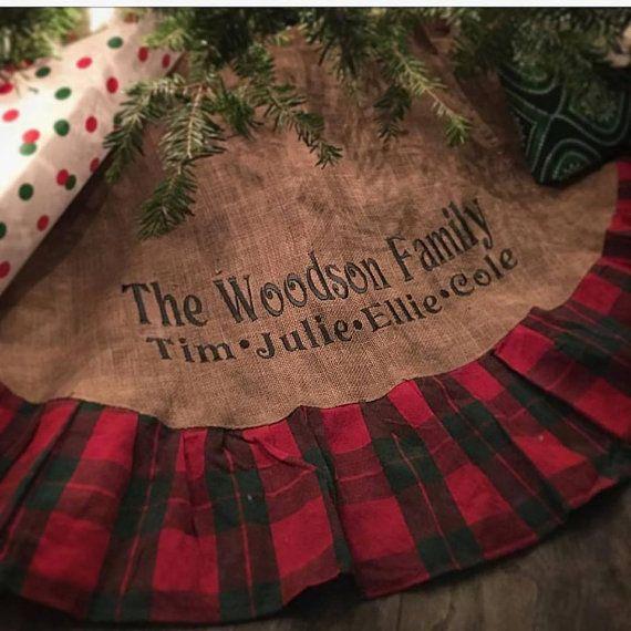 "Burlap Plaid Christmas Tree Skirt 48"", Christmas Tree Skirt with Large Embroidery, Monogrammed Christmas Tree Skirt"