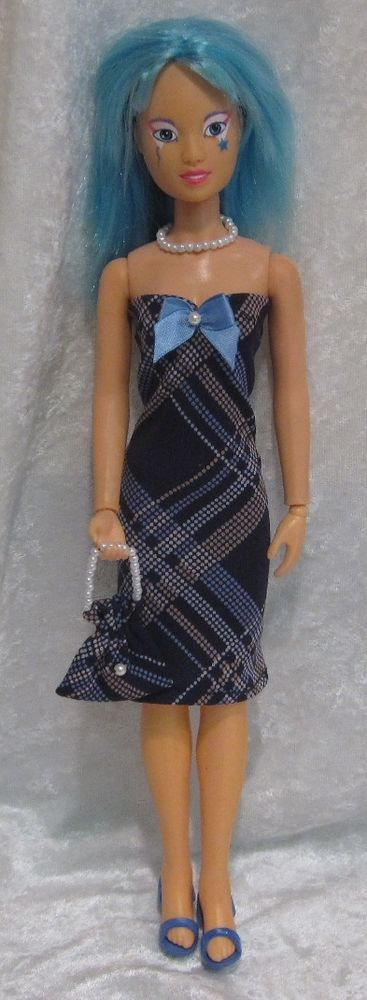 JEM, HOLOGRAMS, MISFITS Doll Clothes #55 Dress, Purse & Beaded Necklace Set #HandmadebyESCHdesigns