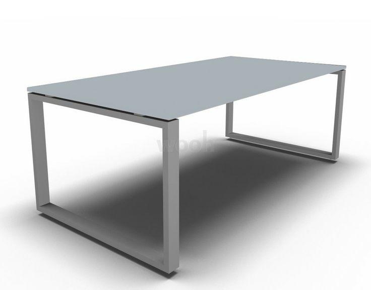 Bureau Loopy verre satiné piètement chrome prof. 100 - Wooh Store : Bureau et mobilier de bureau