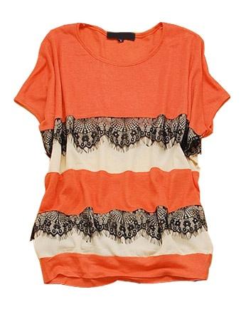 Orange Striped Round Neck Batwing Cotton T Shirt