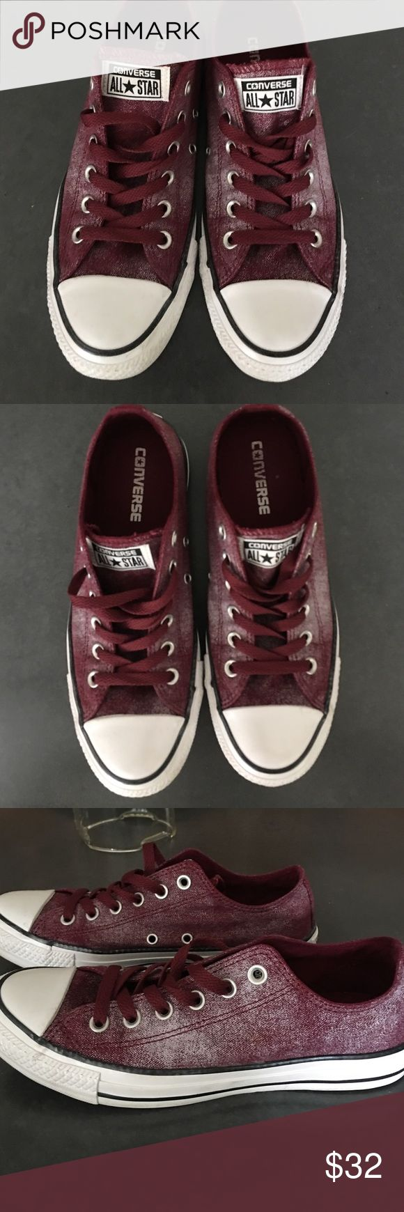 Converse All Star Burgundy White Washed Sneakers Converse All Star Burgundy White Washed Sneakers. Worn Once!  Mint Condition! Women's size 8. Great Burgundy color with subtle white wash. Great deal Converse Shoes Sneakers