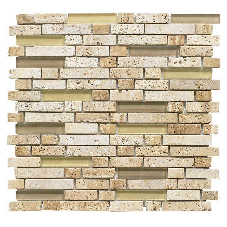 Natural Travertine Mosaic Tile L 300mm W 300mm: Brown Mosaic Glass & Stone Wall Tile, (L)300mm (W)308mm