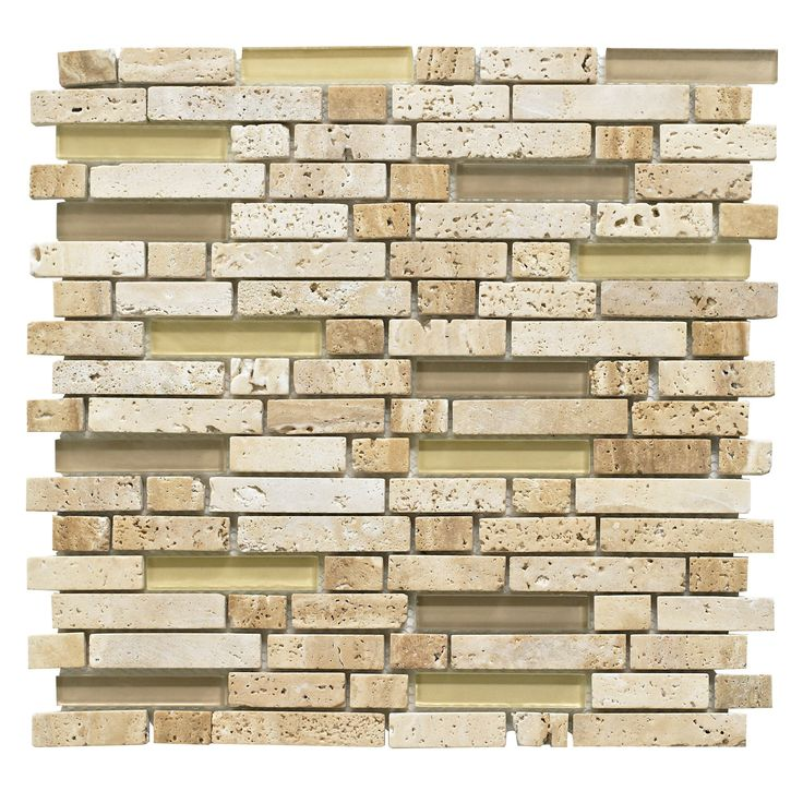 Brown Mosaic Glass Stone Wall Tile L 300mm W 308mm
